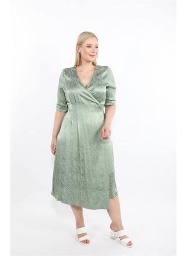 Luokk Petra Bele Oturan Kruvaze Dizaltı Saten Elbise Yeşil